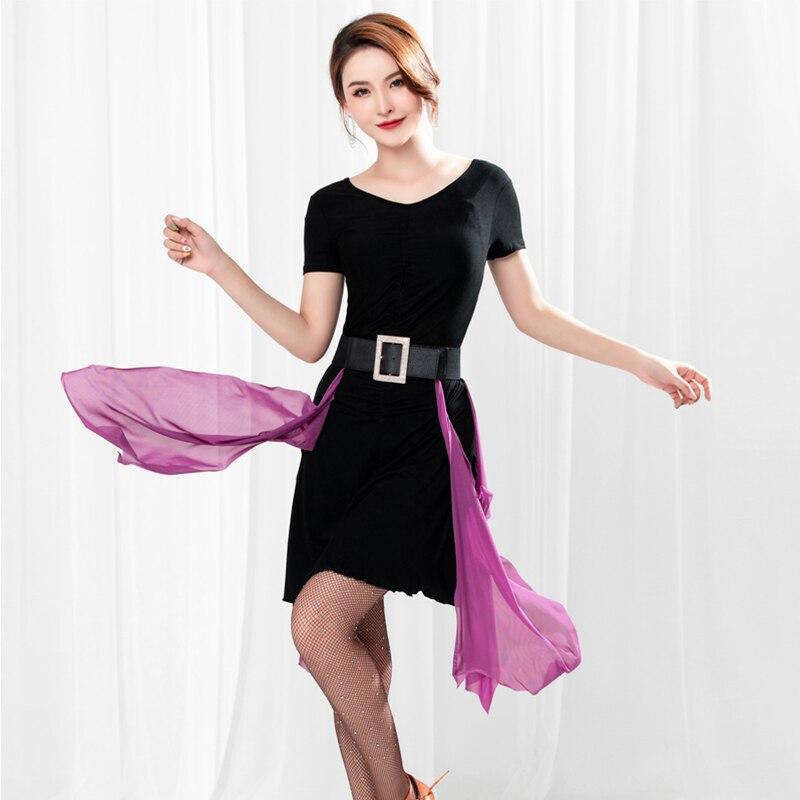 Latin Dance Dress Women Black Short Sleeved Purple Streamer Belt Cha Cha Rumba Costumes Practice Show Dancewear Ladies DNV11631