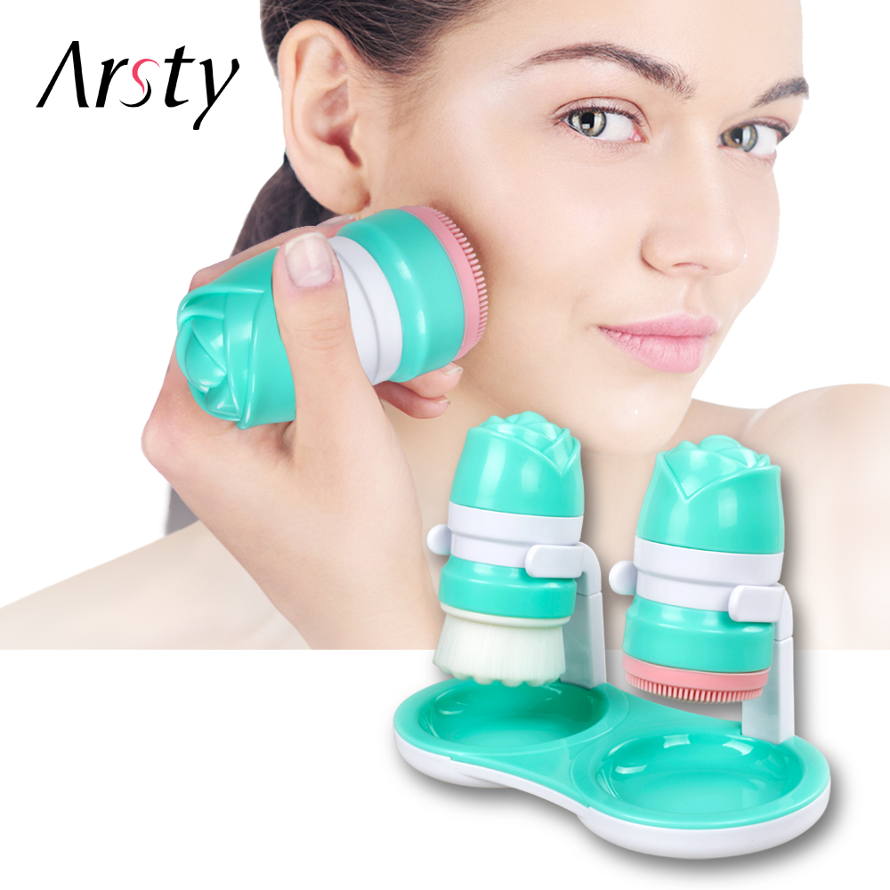 цена 2IN1 Face Brush Cleansing Wash Brushes Silicone Facial Brush Cleanser Tool Waterproof Design Skin Care Massage Face Wash Spa