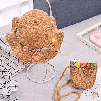 Baby Girls Children Straw Beauty Floral Hat Baby Sun Hat Girl Summer Cap Beach Visor Hat Straw Bag Two-Piece Sets 5