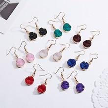 Дизайн, натуральный камень, геометрические круглые серьги для девочек, корейский стиль, дизайн из смолы, красный зеленый кристалл, висячие серьги, подарок