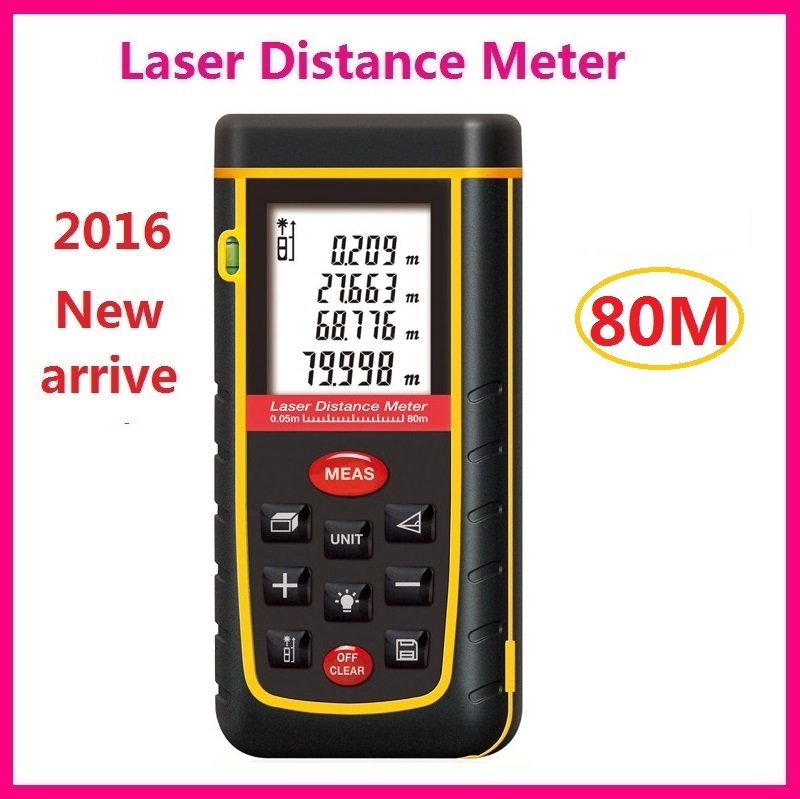 High Quality 80m Laser Distance Meter 262ft Lazer Rangefinder Range Finder Tape Measurer IP54 With LCD Backlight LL49