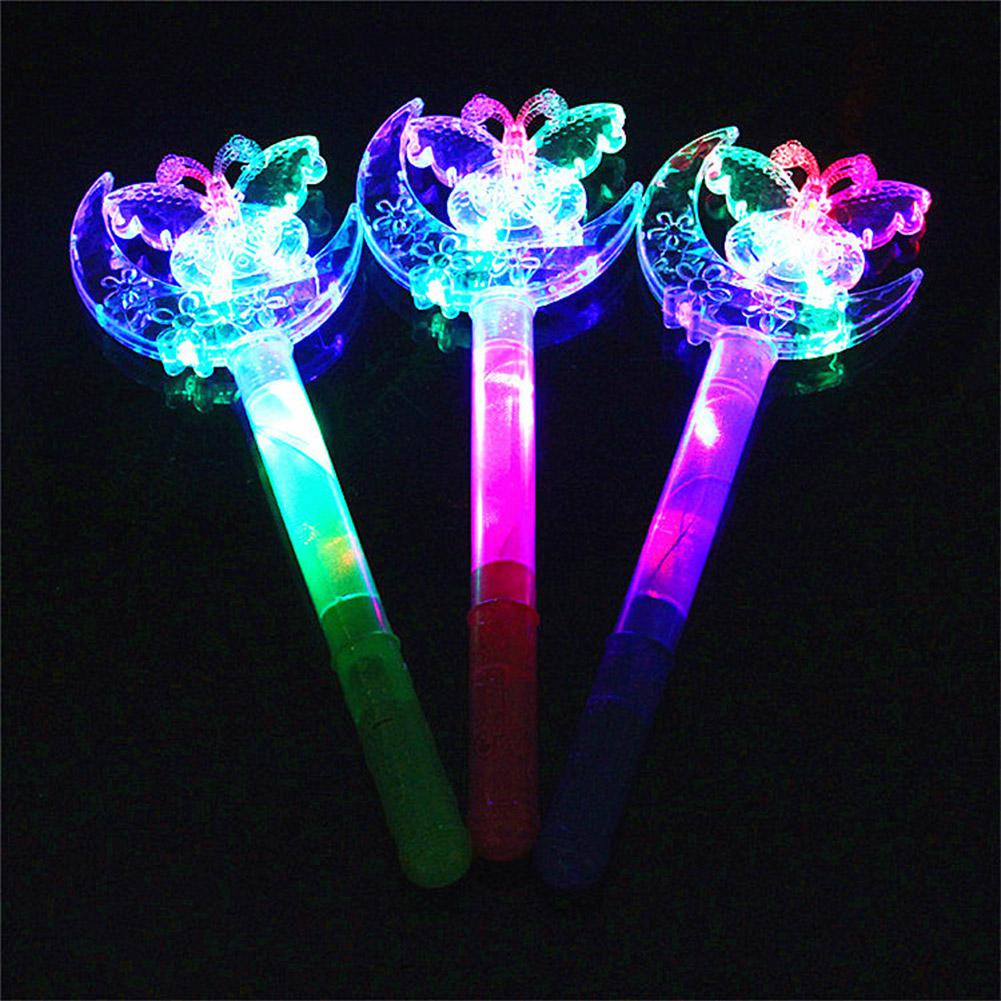 LeadingStar Children Crown Star Butterfly Moon Light Up Luminous Shiny Bling LED Magic Stick Gifts Interact Play Game Toys