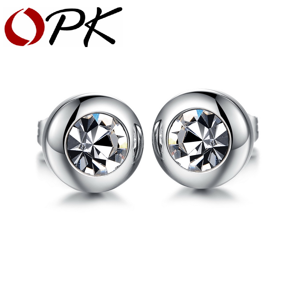 8e9e268a5e516 US $4.7 |OPK Vintage Round Design Studs Earring For Women Men Fashion  Silver Stainless Steel Cubic Zirconia Jewelry Earring Unisex 281-in Stud ...