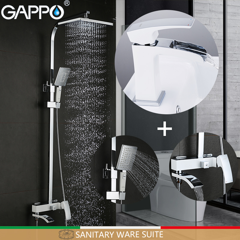 GAPPO Sanitary Ware Suite chrome and white bath faucet mixers brass bathroom shower set torneira wall bathroom faucet mixer