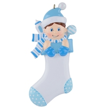 Baby Boy Girl Speckled Stocking Resin Craft Personalized Lover First Gifts Souvenirs With Scarf Milk Bottle Glitter Hat