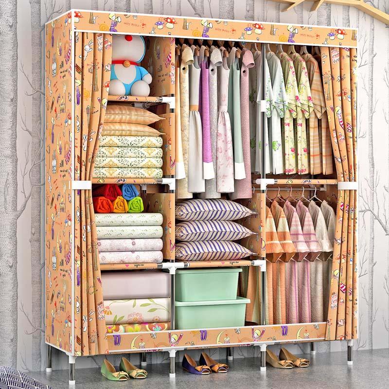 Fashion beautiful cloth wardrobe 25MM steel pipe Combination wardrobe Large capacity multifunctional storage cabinet Furniture