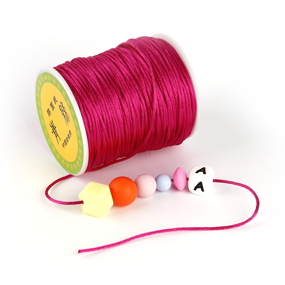 TYRY.HU Colorful 80 Meters Satin Silk Rope Nylon Cord For Baby Teether Accessories Teething Necklace Rattail Cord DIY Tool 1.5mm