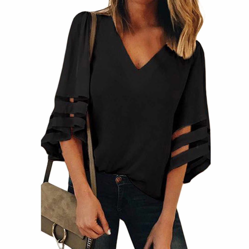 Laser Cut Insert Mesh Cuff Blouse Elegant Solid V Neck Loose Tops Women Half Sleeve Work Shirt Plus Size Workwear #L