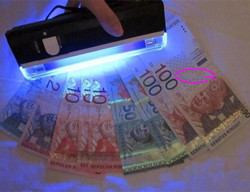 10PCS Money detector with torch Portable UV Ultra Violet LED Light Lamp ID Card banknote bill Currency Money detector Gold Line