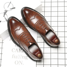 Luxury Brand Men Oxford Shoes Formal Leather Dress New 2019 Wedding Party Derby Brogue Italian Fashion Flats