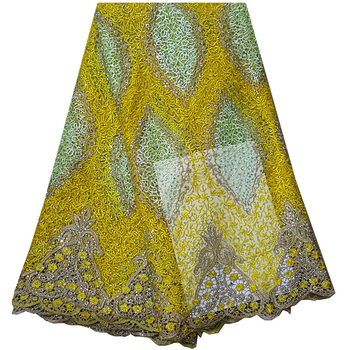 Yellow African Net Lace Fabric High Quality Fashion French Lace With Rhinestones Embroidered Tulle Lace Fabric For Party Dress