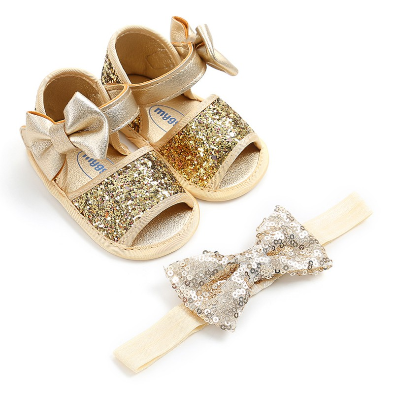 Sequins Big Bow Hairband + Soft Sole PU First Walker Shoes Ribbon Baby Ballet Princess Shoes For 0-18M 2Pcs/Set