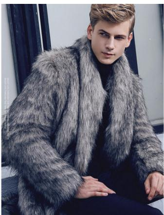 Male Fake Fur Casual Fake Coats Man-Made Faux Fur Overcoats With Fur Scarf Large Size Male Long Section Fake Fur Jackets Cj102(China)