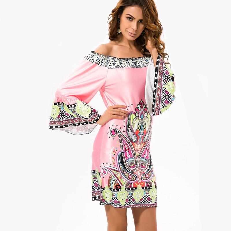 Bohemian Print Dresses Vestidos De Festa Robe Off Shoulder Clothing ...