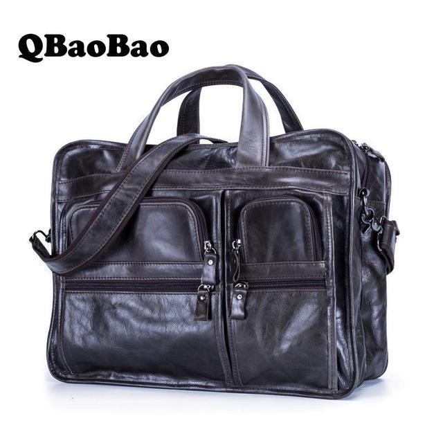 "Men Laptop Bag Briefcase Genuine Leather Mens Bags Handbags Genuine Leather 15"" Office Computer Top Handle Bag"
