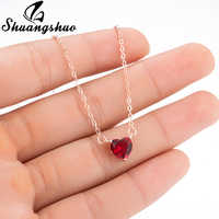Shuangshuo Sterling Silver Necklace Women Fashion Collier Cute Tiny Red Heart Pendant Necklace For Women Girls Lady Gifts