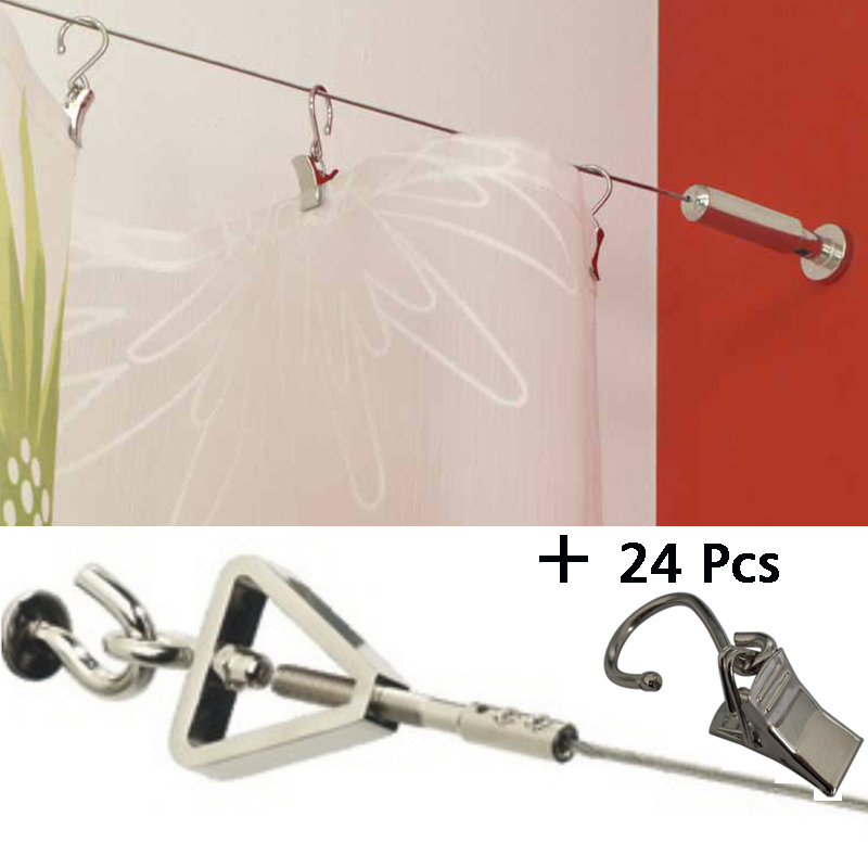 5M  Curtain Drapery Drape Wire Rod Set and 24 Clips ,Sidney  , Curtain Accessories for Window Decoration
