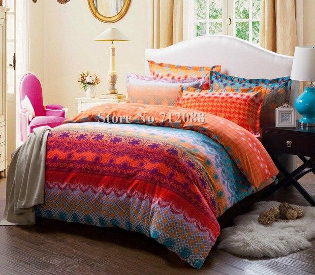 Free Shipping Cotton Bed Linens Sanding 4pcs Orange Blue