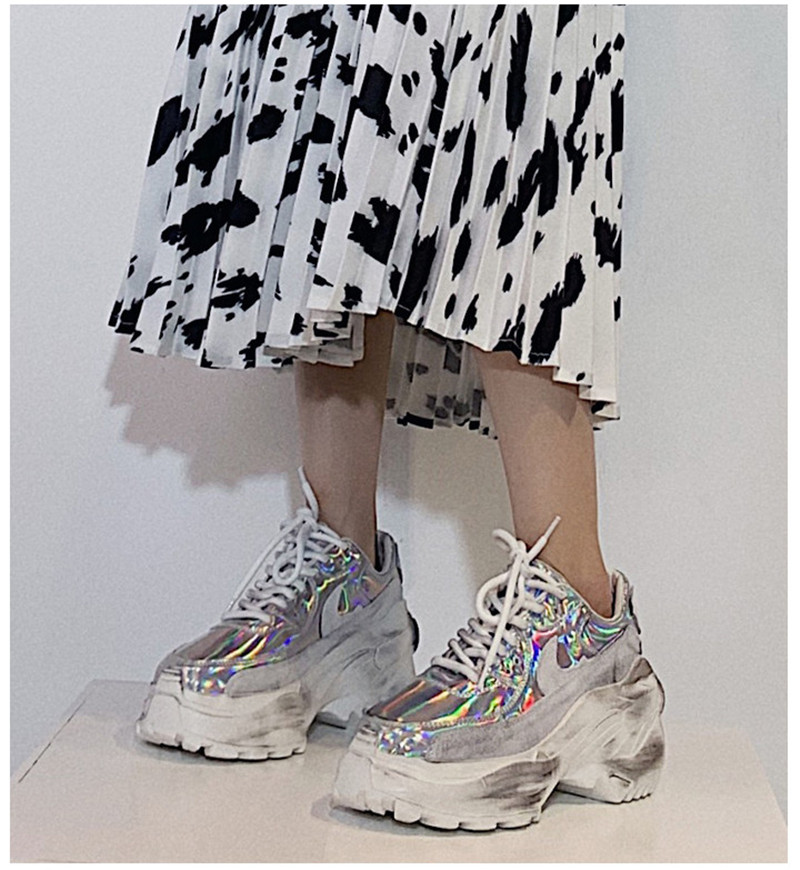 2019 Spring Autumn Shoes Women Platform Shoes Lady Lace Up Casual Pumps Creepers Harajuku Punk Sneakers Girl Female Silver Shoes (6)