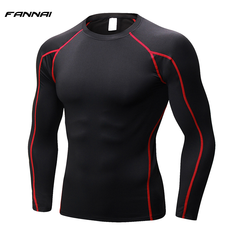 Men Rashgarde T-Shirts Gym Professional Compression Men's Long Sleeve Running Shirt Quick Dry Fitness Tight Soccer Jersey Sports