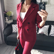Double Breasted Striped Blazer Jacket & Zipper Pant Suit