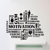 Palavras de Motivação Decalque Da Parede de Fitness ginásio Esporte Adesivos de Parede Home Decor Wall Art Adesivos de Parede Vinil Decalques Casa Decorações
