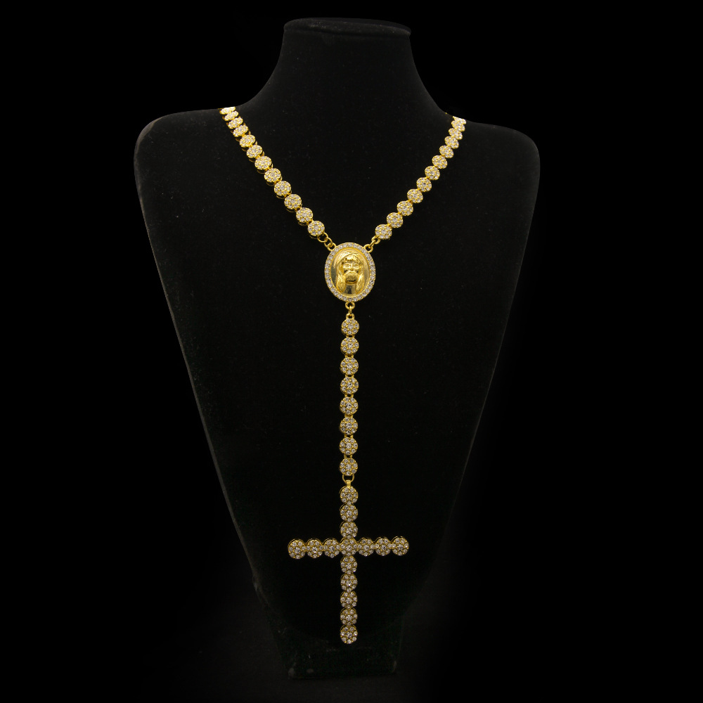 Golden Bling Full Rhinestone Rosary Pendants Men Women Charms Crossing Jesus Necklaces Hip Hop Jewelry Chains Chokers велосипед stels challenger v 2016