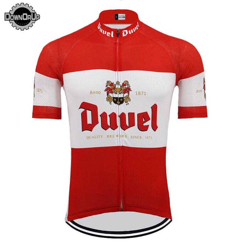 Hommes cyclisme vélo manche courte vêtements costume cyclisme Jersey Top Rouge