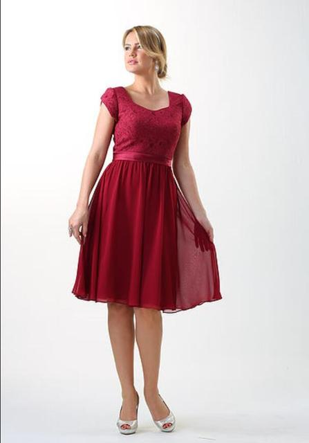 Cecelle 2016 Burgundy Short Lace Chiffon Rustic Modest Bridesmaid Dresses Cap Sleeves Knee Vintage Temple Wedding