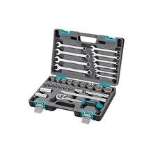 Набор инструментов STELS 14102 (31 предмет, хром-ванадиевая сталь и сталь S2, трещоточный ключ, комбинированные гаечные ключи, торцевые головки, пластиковый кейс)