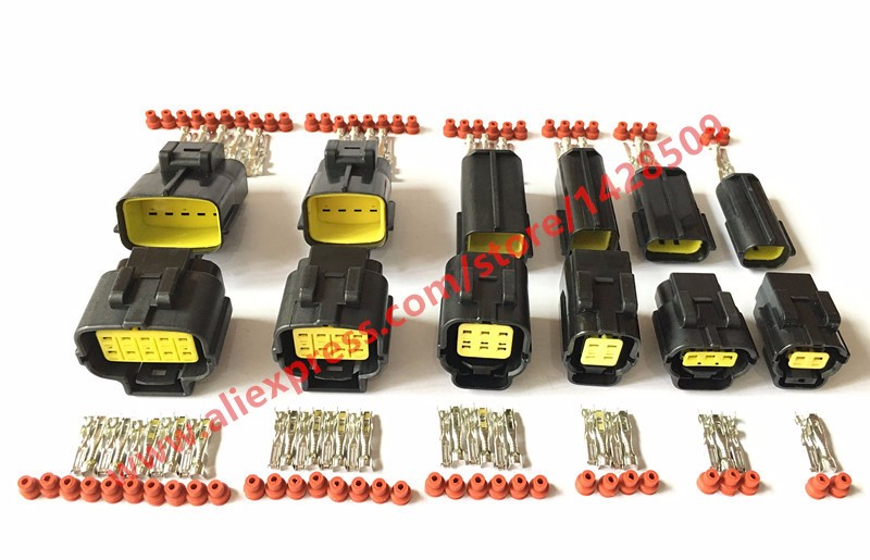 30set Kit 2/3/4/6/8/10 Pin Way Waterproof Wire Connector Plug Car Auto Sealed Electrical Car denson connector 174259-2 318623-5