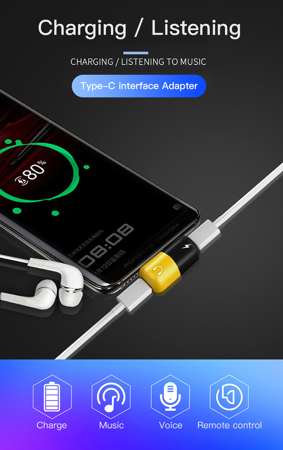 !ACCEZZ Pill Shape Adapter USB Type C For Huawei P20 Samsung S8 S9 Plus Note 8 3.5mm Jack Aux Adapter For HTC Oneplus 7 Pro Mi 9 (1)