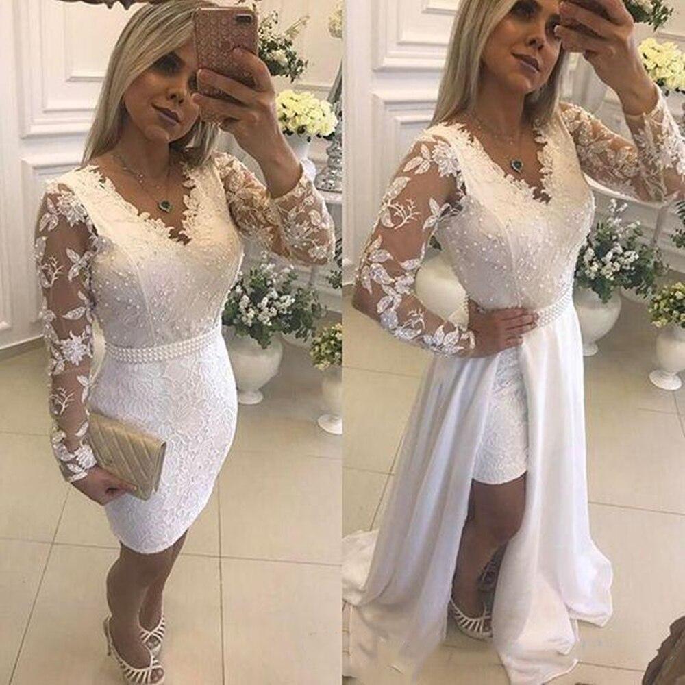 Белый жемчуг Короткие вечерние платья со съемной юбкой Иллюзия одежда с длинным рукавом кружевные торжественные платья для выпускного для