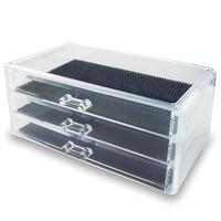 Multifunction Acrylic 3 Layer Drawer Style Makeup Cosmetics Jewelry Box Case Organizer Transparent