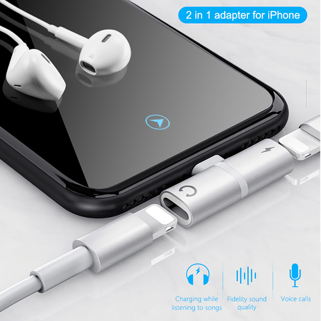!ACCEZZ 3 in 1 Dual Lighting Charging Listening Calling Adapter For Iphone X XS MAX XR 7 8 Plus Earphone Audio Charger Splitter 3