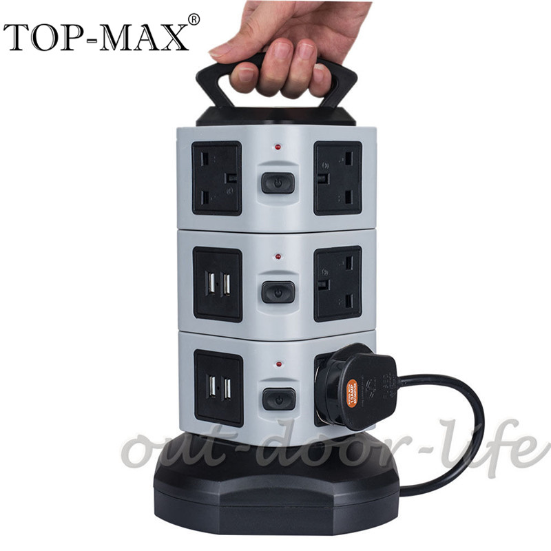 цена на TOP-MAX 3 Layer Vertical Tower 4 USB Port 10 AC Outlets UK Plug Extension Socket Power Strip Socket With 2M Extension Cable