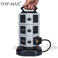 TOP MAX 3 Layer Vertical Tower 4 USB Port 10 AC Outlets UK Plug Extension Socket Power Strip Socket With 2M Extension Cable