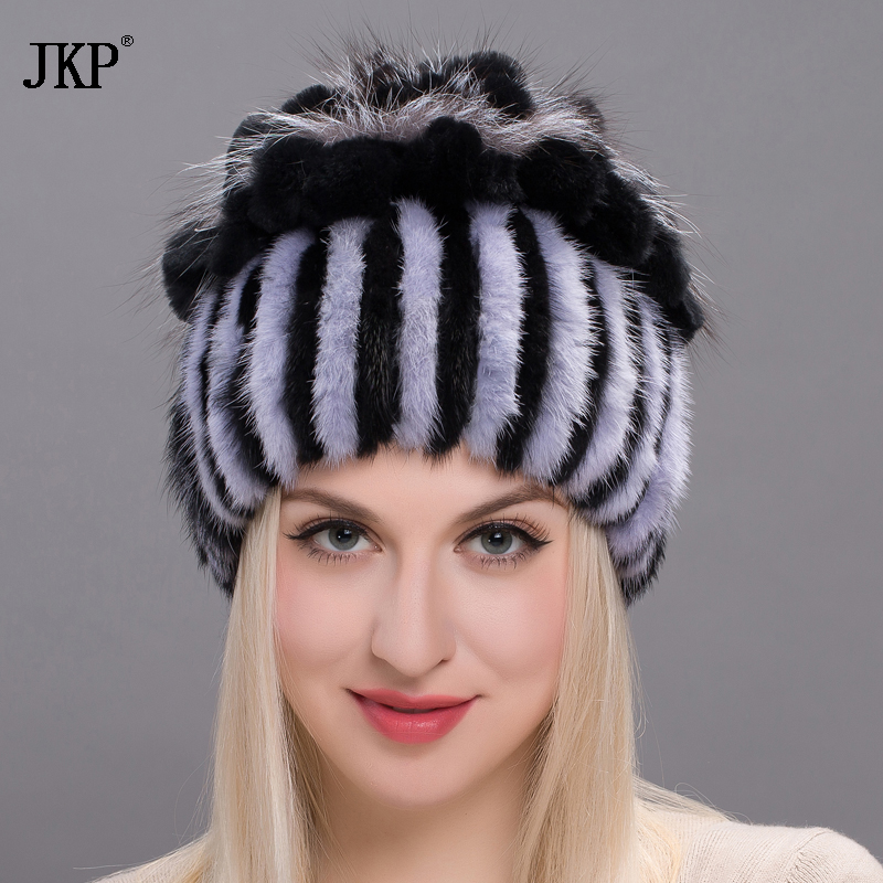 New Natural Imported Mink Fur Hat For Women Rabbit Fur Petal On The Top Mix With Fox Fur Warm And Fashion Warm Ear Cap DHY17-03