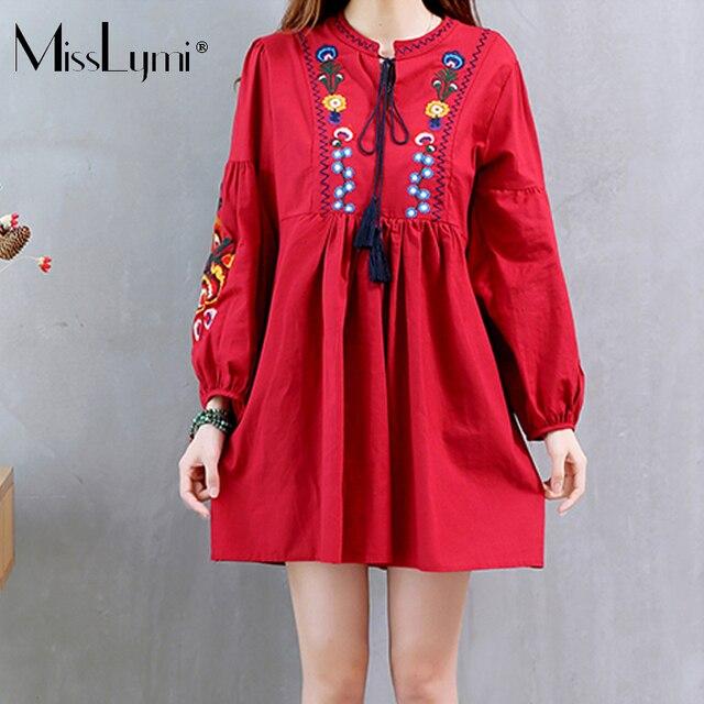 MissLymi M-XXL Women Dress 2017 Autumn Korean Fashion Vintage Linen Flower  Embroidery Long Sleeve Elegant Short Dress Bts Female ac05975c3263