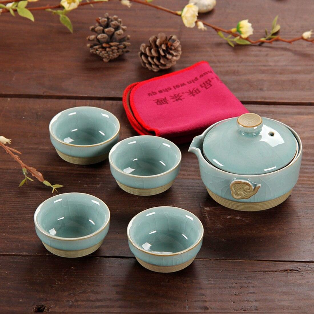 5Pcs Set Chinese Kung Fu Tea Sets Ceramic Portable Teacup Porcelain Service Teacups Teapot Home Travel