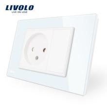 Livolo Israel Power Socket Sensor , White Crystal Glass Panel, AC 110~250V 16A Wall Power Israel Socket, VL-C9C1IL-11