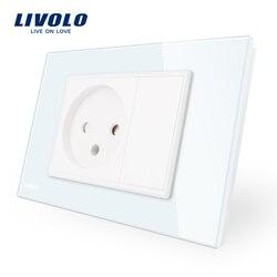 Livolo israel power socket sensor, branco/preto painel de vidro cristal, ac 110 ~ 250 v 16a tomada de parede israel, VL-C9C1IL-11/12