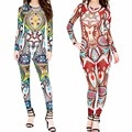 S-XXXL 2016 Women Sexy Jumpsuit Plus Size Long Sleeve Aztec Tribal Bodysuit Slim Bodycon Curvy African Bodysuits Green Red Khaki