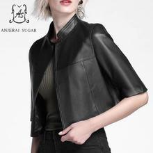 Autumn women Sheepskin Genuine Leather jacket Black half sleeve motorcycle real leather jaqueta couro feminina short Cloak coat