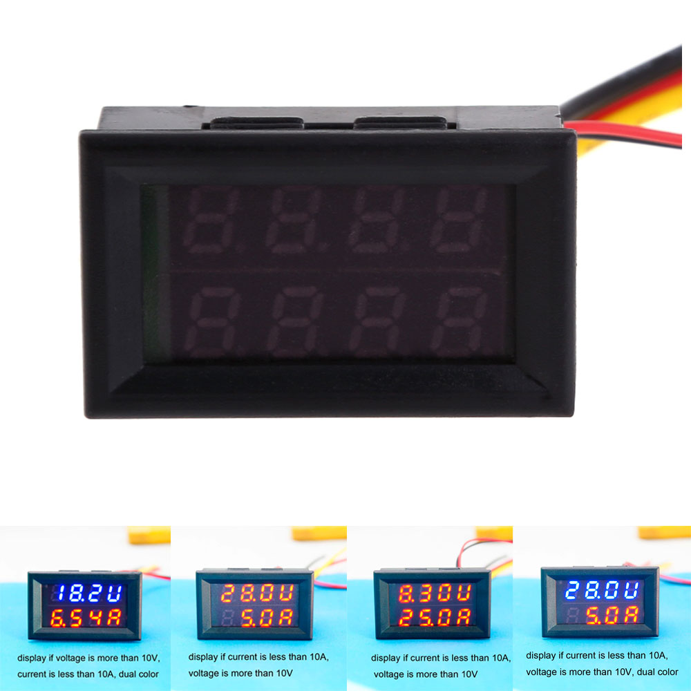 0.28LED DC Dual Display Panel Meter Volt Amp Meter 30V10A/30V50A/100V10A/100V100A Double Color Blue/Red LED Voltmeter Ammeter