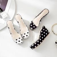 Women Shoes Polka Dot Wedges Slippers Fashion Platform Heels Transparent Slides Summer Crystal Sandals Black White Zapatos Mujer