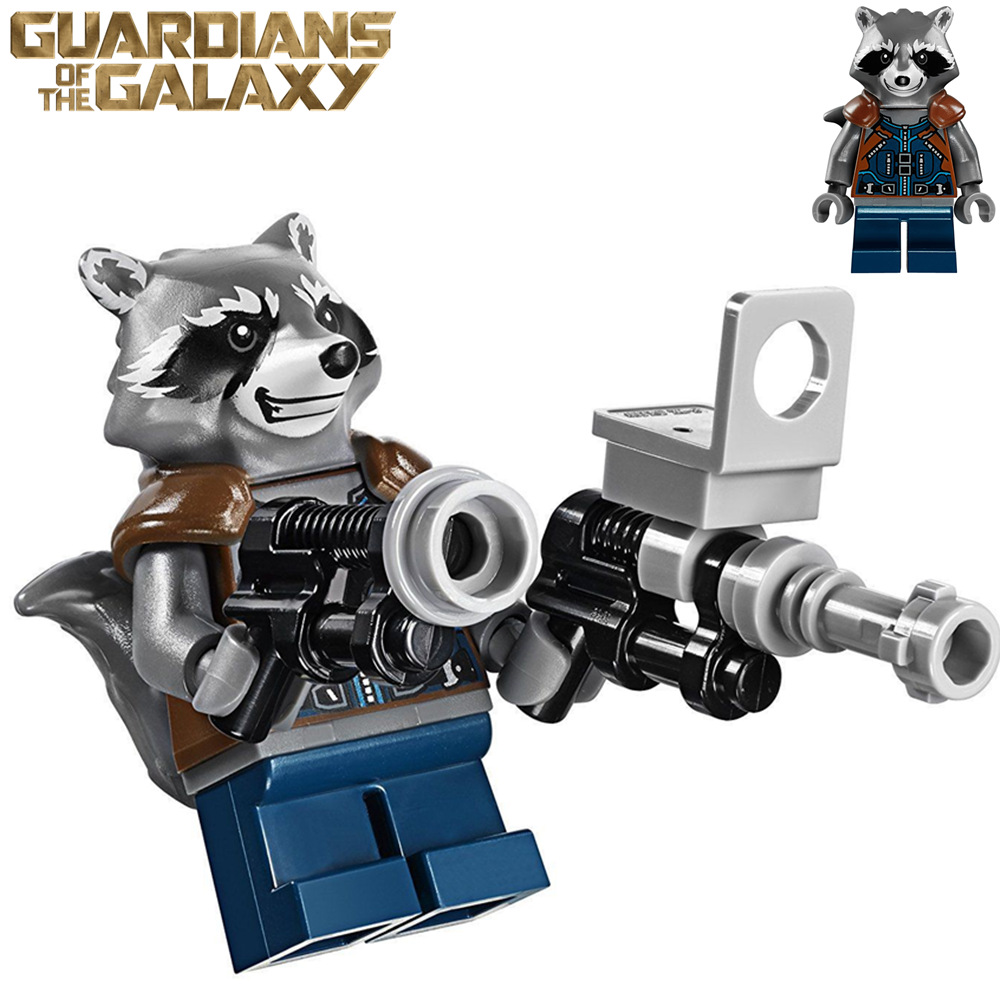 футболка с полной запечаткой printio rocket racoon guardians of the galaxy Single Sale Movie MARVEL Guardians of the Galaxy Vol.2 Rocket Racoon Nebula Star-Lord Super heroes DIY Blocks minifig Kids Toys