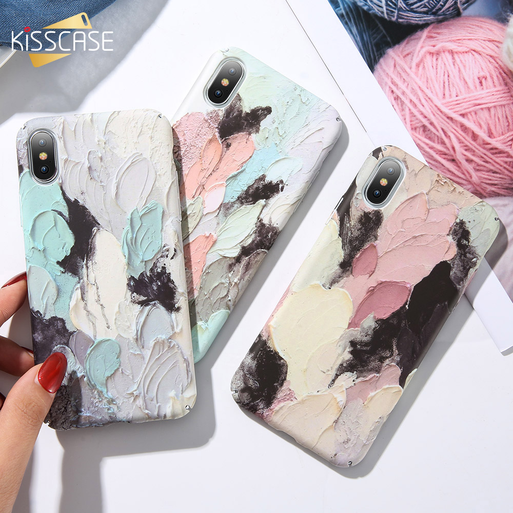 KISSCASE Art Graffiti Painted Phone Case For iPhone 7 8 X Xs Max 3D Emboss Luminous Hard PC Case For iPhone XR 6 7 8 Plus Cover