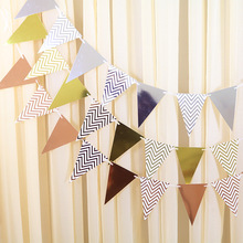 12 pcs/lot Bronzing Triangle Flag Banner kids Birthday Party Decorations Wedding Decor Baby Shower Decorating Supplies