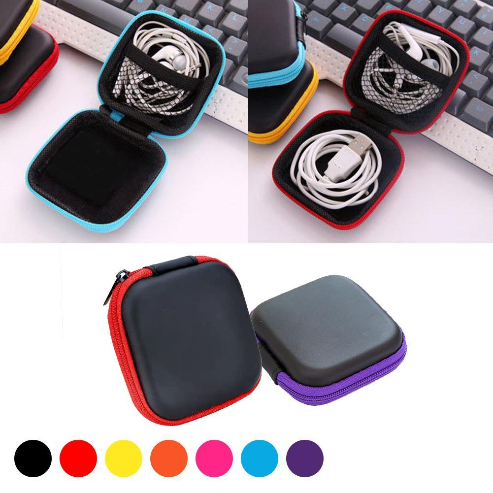Portable Square Earphone Wire Organizer Box Line Cables Foldable Wire Storage Case Container Coin Headphone Protective Bag